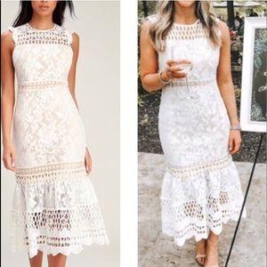 White Lace Sleeveless Crochet Midi Dress